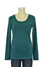 Boob Cloe Ruched Long Sleeve Nursing Top (Ocean Green) by Boob