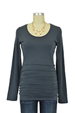 Boob Cloe Ruched Long Sleeve Nursing Top (Graphite Grey) by Boob