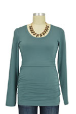 Boob Cloe Ruched Long Sleeve Nursing Top (Turquoise Haze) by Boob