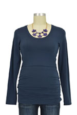 Boob Cloe Ruched Long Sleeve Nursing Top (Ink Blue) by Boob