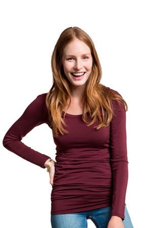 Boob Design Cloe Ruched Long Sleeve Nursing Top (Burgundy Red) by Boob Design