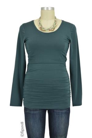 Boob Design Cloe Ruched Long Sleeve Nursing Top (Teal) by Boob Design