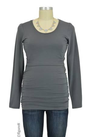 Boob Design Cloe Ruched Long Sleeve Nursing Top (Elephant) by Boob Design