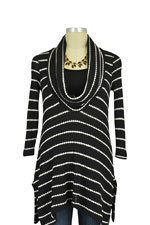 Jacqueline Cowl Neck Nursing Top (Black & White Stripes) by Maternal America