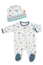 Magnificent Baby Boy's Footie and Reversible Cap Set (Rockets) by Magnificent Baby