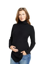 100% Cashmere Turtleneck Maternity Sweater (Black) by Maternal America
