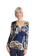 Alycia Wrap MaternityTop (Blue & Mustard Arabesque Print) by Olian