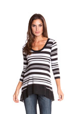 Lori Maternity Top (Grey & Black Stripes) by Olian