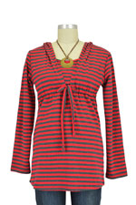 Aja Stripes Nursing Hoodie (Red Stripes) by Annee Matthew