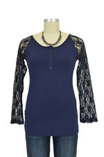 Lace 3/4 Sleeve Nursing Top (Navy) by Annee Matthew