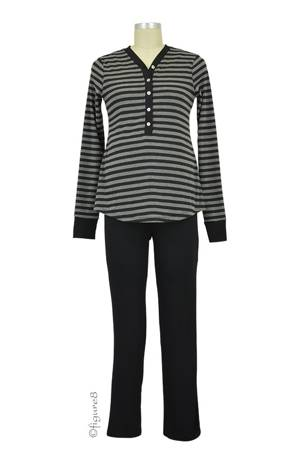 Cayden 2-pc. Nursing PJ Set (Black Stripes) by Annee Matthew