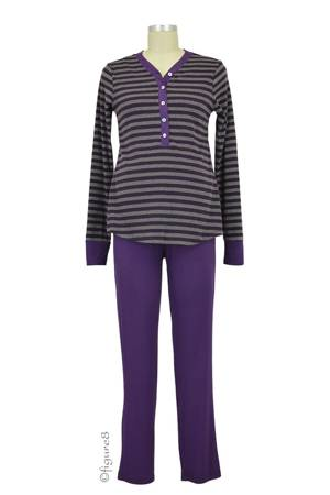 Cayden 2-pc. Nursing PJ Set (Eggplant Stripes) by Annee Matthew