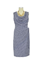 Ezra Drape Front Nursing Dress (Navy Chain) by Japanese Weekend