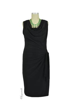 Ezra D&A Drape Front Nursing Dress (Black) by Japanese Weekend