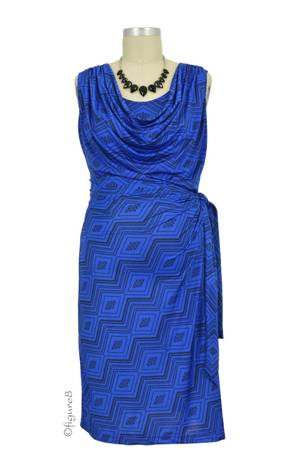 Ezra Drape Front Nursing Dress (Royal Diamond Print) by Japanese Weekend