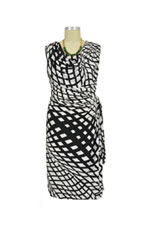 Ezra Drape Front Nursing Dress (Black & White Geometric) by Japanese Weekend