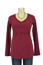 London Long Sleeve V-Neck Nursing Tee (Deep Cabernet) by Mothers en vogue