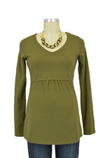 London Long Sleeve V-Neck Nursing Tee (Bronze Olive) by Mothers en vogue