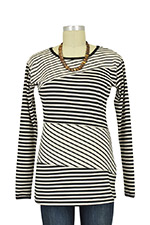 Ladder Stripes Nursing Top (Black & Off-White Stripes) by MEV