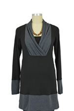 Majamas Simone Nursing Tunic (Black with Grey) by Majamas