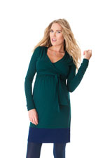 Seraphine Enja Long Sleeve Nursing Dress (Evergreen & Navy) by Seraphine