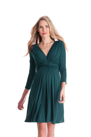 Seraphine Jolene 3/4 Sleeve Maternity Dress (Dark Green) by Seraphine
