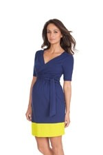 Seraphine Enja Wrap Nursing Dress (Blue & Neon) by Seraphine