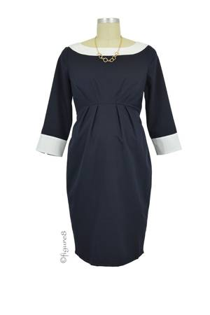 Seraphine Marelle Business Maternity Dress (Navy Ivory) by Seraphine