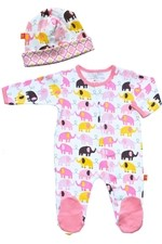Magnificent Baby Girl's Footie and Reversible Cap Set (Elephant) by Magnificent Baby