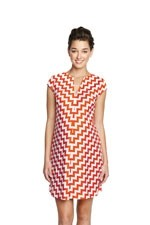 Cassie Short Sleeve Ponte Shift Maternity Dress (Orange Zig Zag) by Maternal America