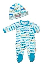 Magnificent Baby Boy's Footie and Reversible Cap Set (Hello Hotdog) by Magnificent Baby