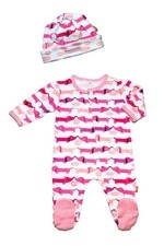 Magnificent Baby Girl's Footie and Reversible Cap Set (Hello Hotdog) by Magnificent Baby