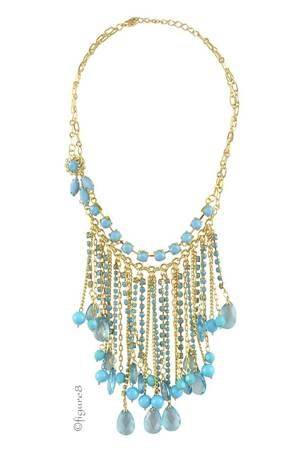 India Bib Necklace (Turquoise) by Jewelry Accessories