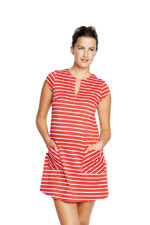 Camila Ponte Maternity Shift Dress with Pockets (Red Stripes) by Maternal America