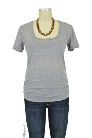 Bun Tri-Blend Cozy Maternity & Nursing Tee (Heather Grey) by Bun Maternity & Nursing