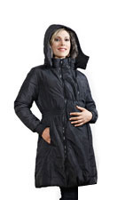 Modern Eternity 3-in-1 Knee Length Maternity Coat (Black) by Modern Eternity