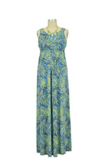 Jenny-Lee Maxi Nursing Dress (Blue Leaf Print) by Larrivo