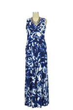 Ella Maxi Nursing Dress (Navy & White Ikat) by Larrivo