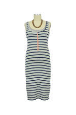 Molly Ades Zippered Nursing Tank Dress (Navy & Heather Stripes) by Molly Ades