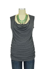 Selena D&A Side Shirred Nursing Top (Charcoal) by Japanese Weekend