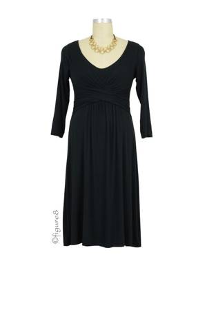 Ilana Cross Wrap Cotton Nursing Dress (Black) by Mothers en vogue