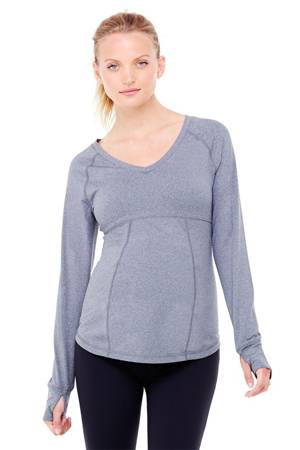 Ingrid & Isabel Long Sleeve Active Maternity Top (Heather Marl) by Ingrid & Isabel