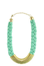 Katie Jumbo Rope Braided Necklace (Mint Green) by Jewelry Accessories