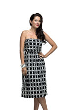 Milky Way Astoria Ruched Tube Nursing Dress (Black and White Retro Print) by Milky Way