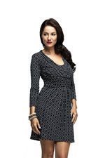 Trixie Twist Front Nursing Tunic Dress (Black and White Fine Chain) by Milky Way