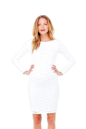 Ingrid & Isabel Boatneck Lace Maternity Dress (Winter White) by Ingrid & Isabel
