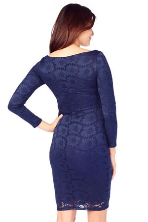 Ingrid & Isabel Boatneck Lace Maternity Dress (True Navy) by Ingrid & Isabel