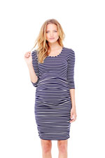 Ingrid & Isabel Stripe 3/4 Sleeve Shirred Maternity Dress (True Navy & Cream) by Ingrid & Isabel