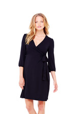 Ingrid & Isabel 3/4 Sleeve Wrap Maternity Dress (Black) by Ingrid & Isabel