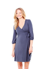 Ingrid & Isabel 3/4 Sleeve Wrap Maternity Dress (Metal) by Ingrid & Isabel
